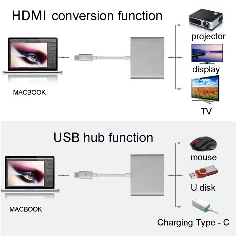 USB 3.1 Type-C Male to USB 3.1 Type-C Female & HDMI Female & USB 3.0 Female Adapter for Macbook 12 / Chromebook Pixel 2015 (Black)