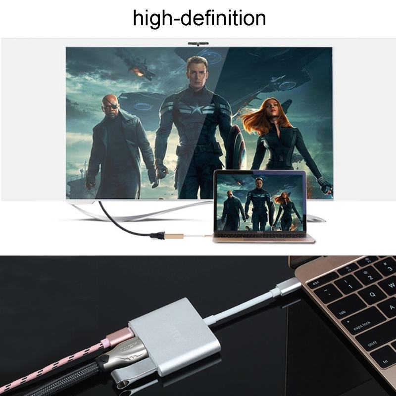 USB 3.1 Type-C Male to USB 3.1 Type-C Female & HDMI Female & USB 3.0 Female Adapter for Macbook 12 / Chromebook Pixel 2015 (Gold)