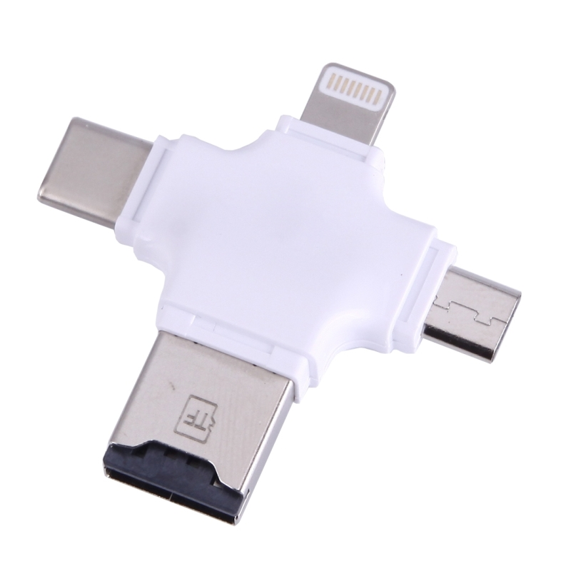 4 in 1 USB Type-C & USB 2.0 & Micro USB & 8 Pin TF Card Reader for MacBook, PC, Laptop, Smart Phone with OTG Function, Support FAT32 & exFAT (White)