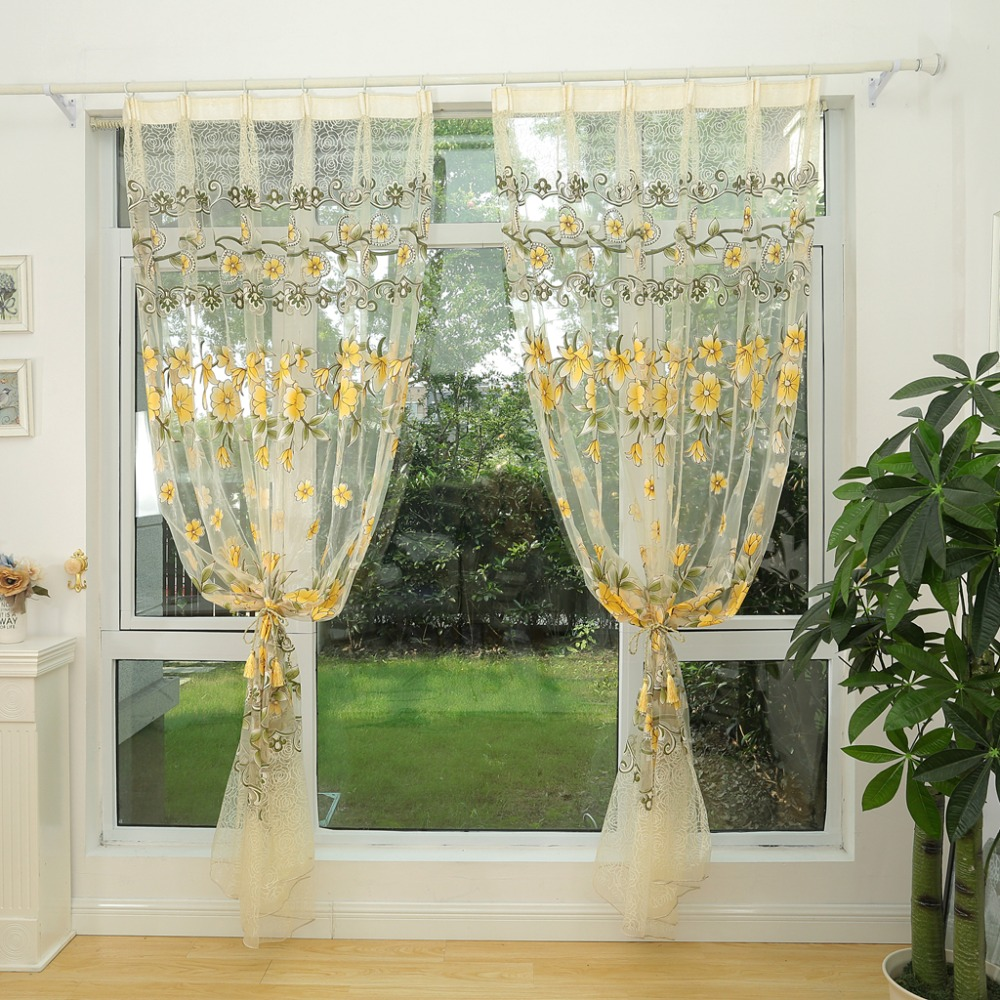 Honana Fashion Transparent Tulle Curtains Window Screen