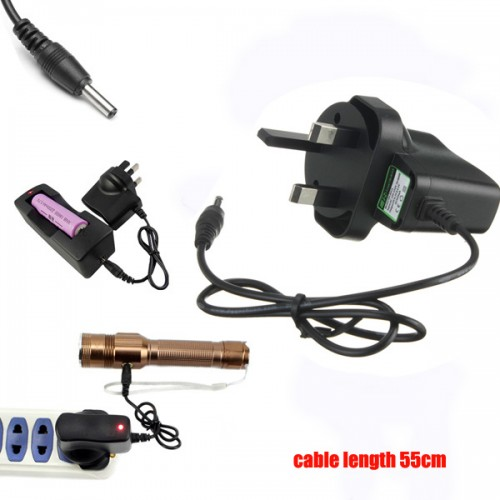 Universal 3.5mm UK Plug AC Charger For LED Flashlight HeadLamp 55cm