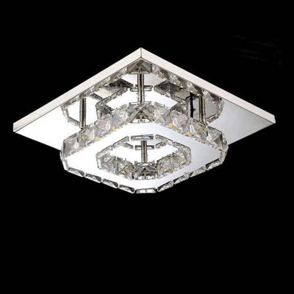Modern Square Crystal LED Ceiling Light Fixture Pendant ...