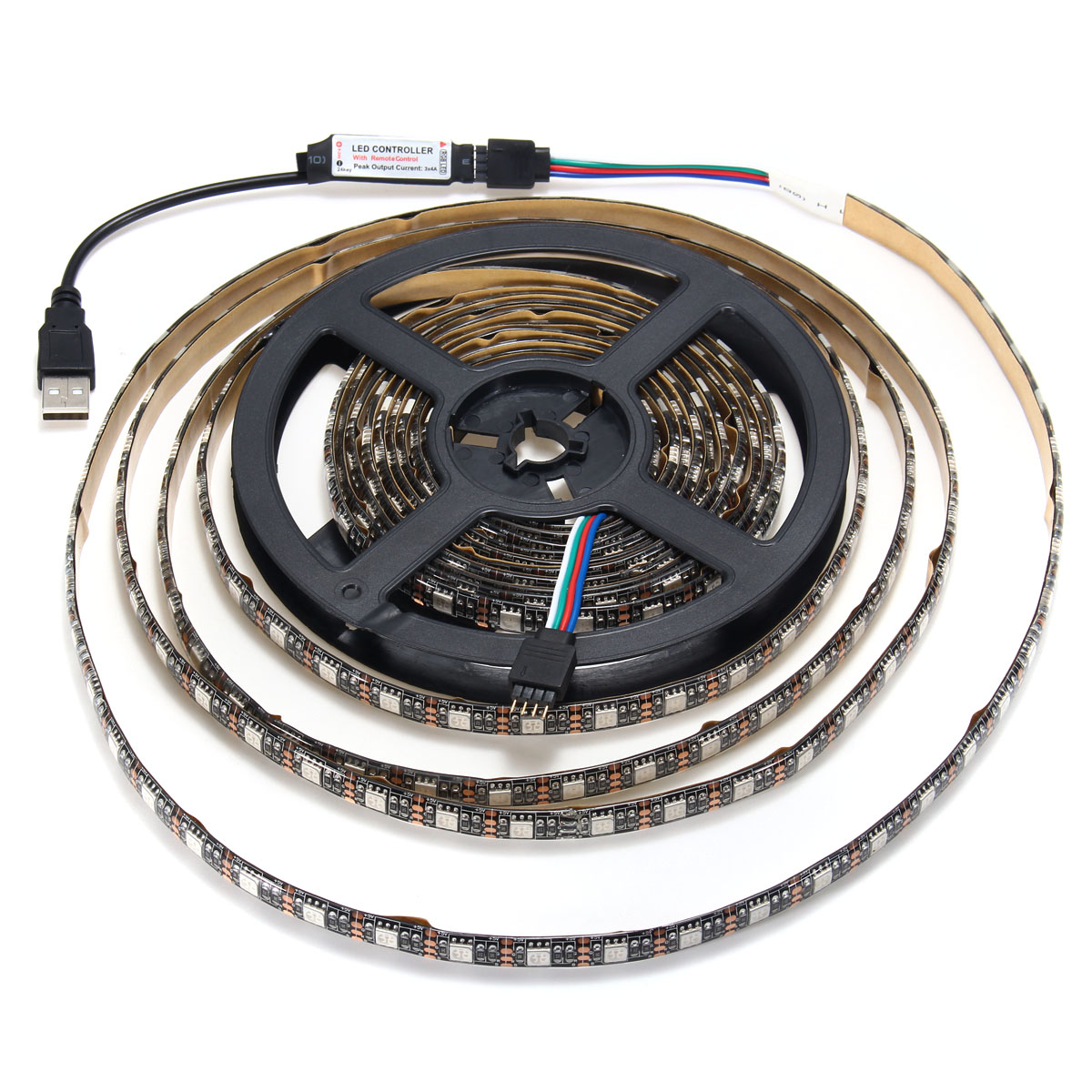 0.5/1/2/3/4/5M SMD5050 RGB Waterproof LED Strip Light TV Back Lighting Kit + USB Remote Control DC5V