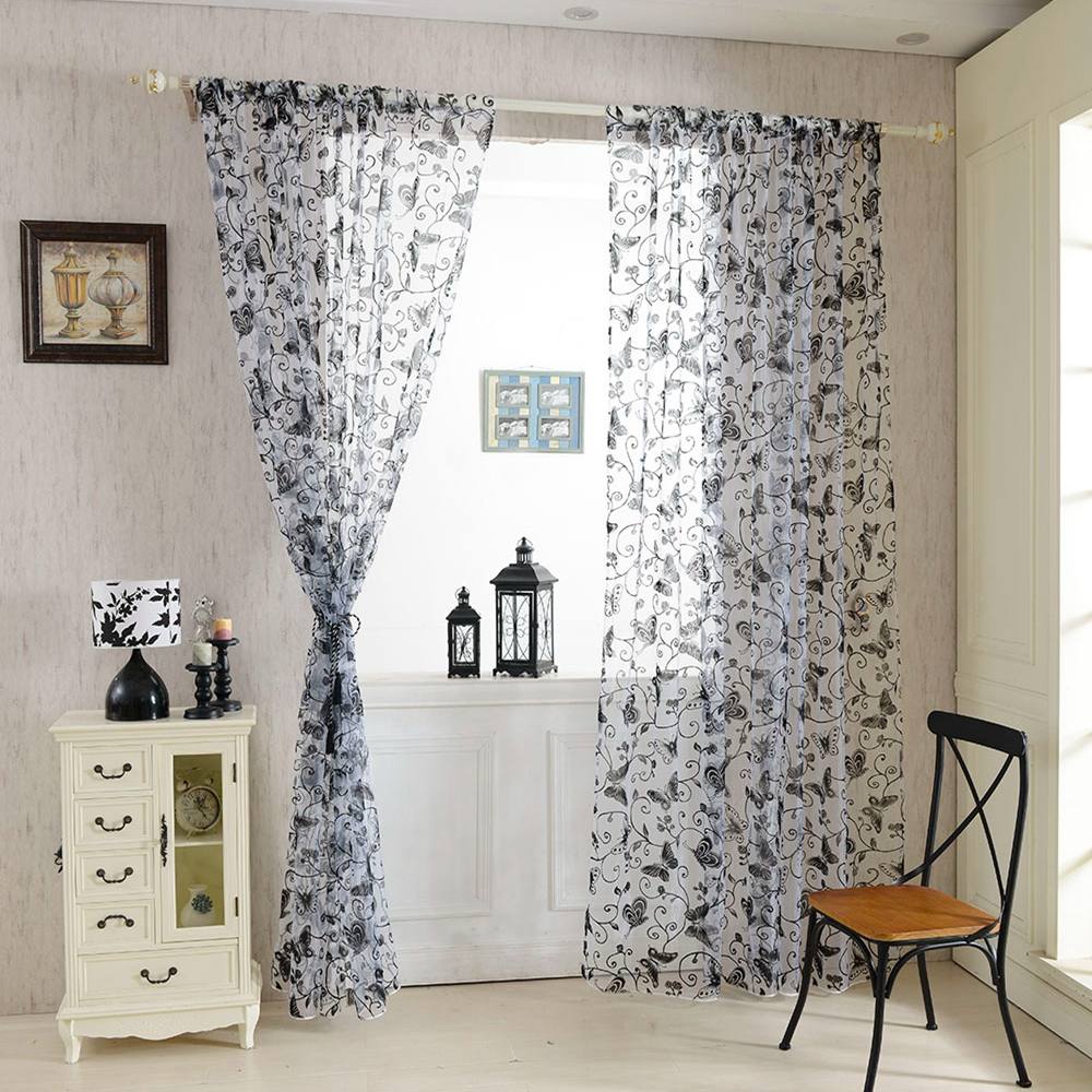 Charmant Honana 1x2m Fashion Butterfly Voile Door Curtain Panel Window Room Divider  Sheer Curtain Home Decor