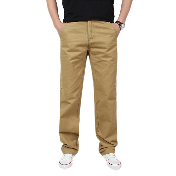 Spring Mens Casual Cotton Loose Solid Color Cargo Pants ...
