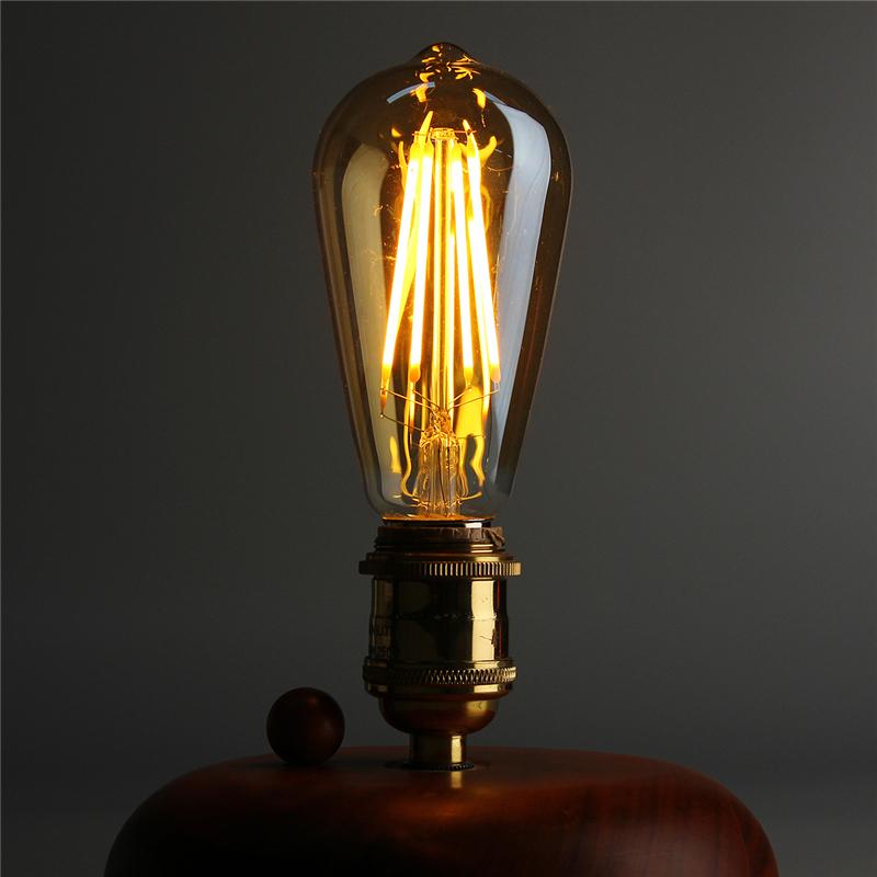 50pcs 40w Vintage Design Edison Filament B22 E27 Led Bulb: E27/B22 4W ST58 LED COB Incandescent Edison Light Lamp