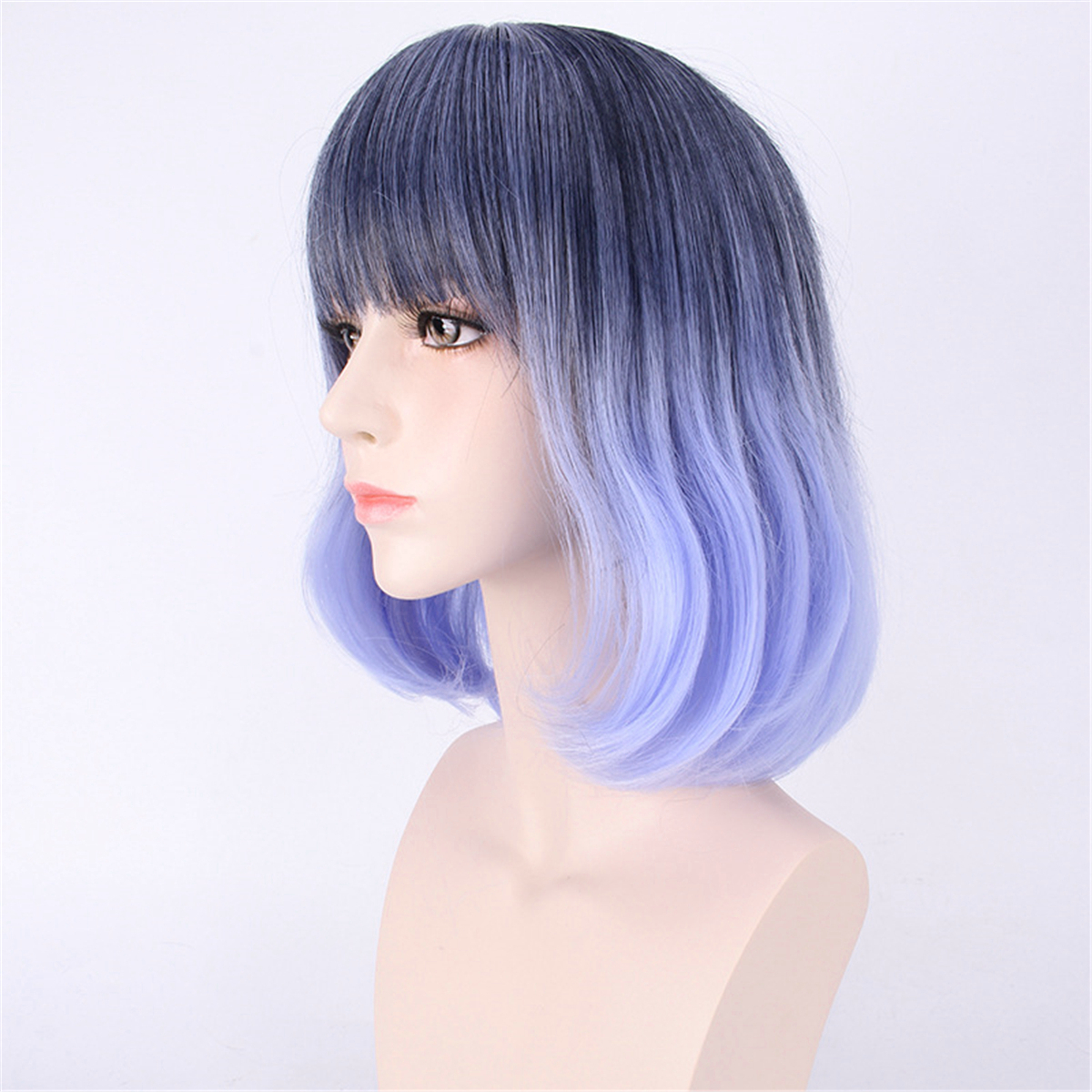 3540cm Blue Gradient Cosplay Wig Woman Short Curly Hair Anime Natural Role Play Capless