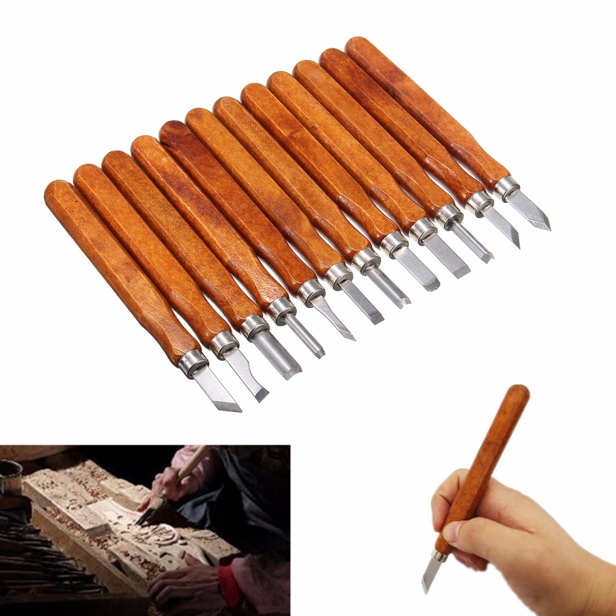 12Pcs Wood Carving Woodworking Hand Chisel Set ...