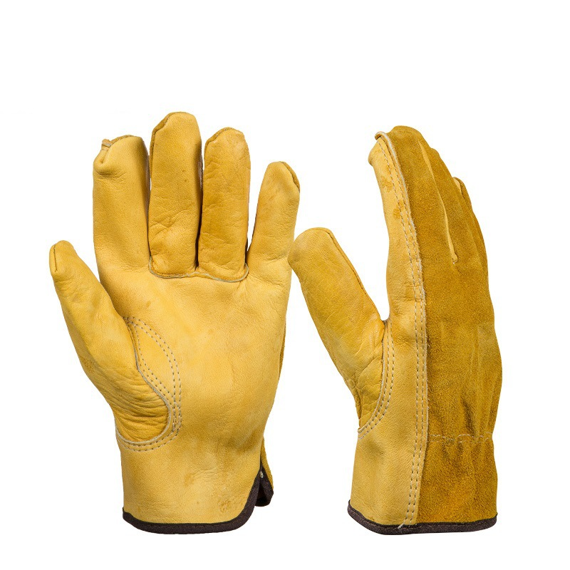 1Pair Leather Gloves Working Protection Gloves Security -9359