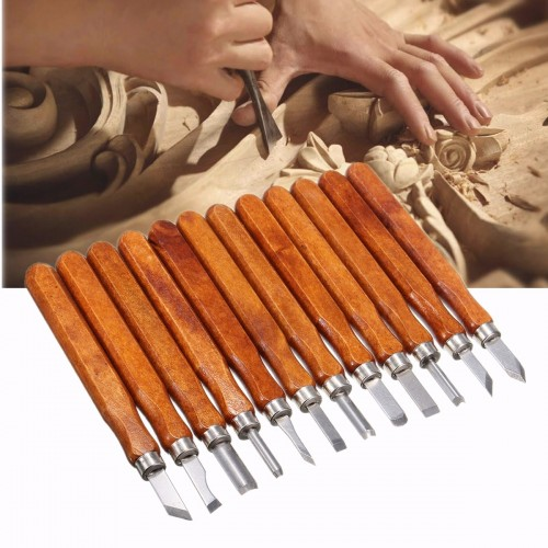 12Pcs Wood Carving Woodworking Hand Chisel Set Professional Lathe Gouges Tools