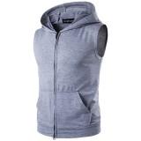 Summer Personality High Street Big Pocket T-shirt Casual Zip Hooded Vest Mens Sweater T-shirt