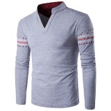 S-3XL Size Mens Casual V-collar Long Sleeved T-shirts Individual Color Graphic Printing T-shirts