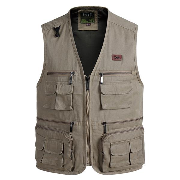 Mens multi big pockets outdoor fishing vest solid color for Mens fishing vest