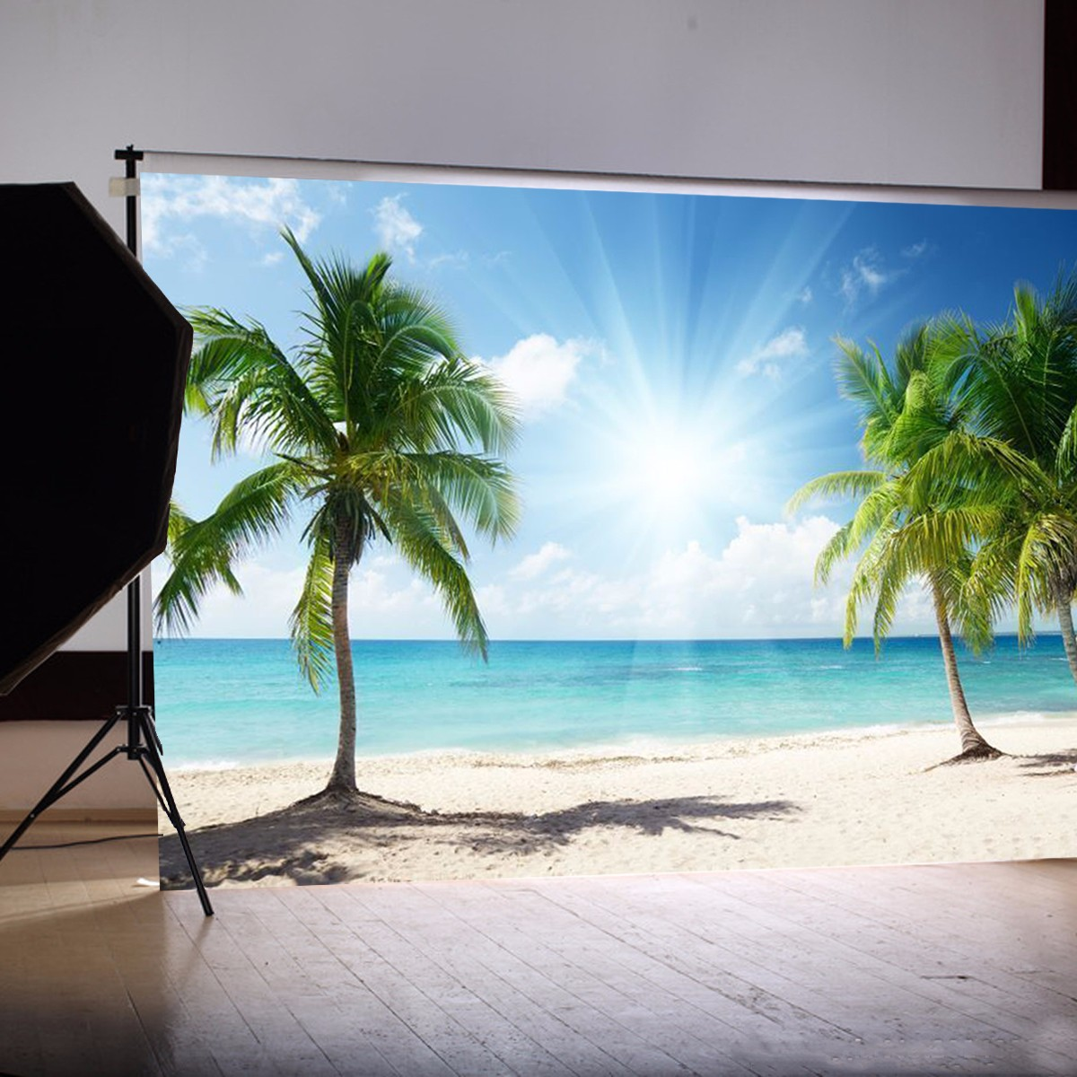 Beach: Vinyl Background Cloth Photography Palm Beach Sunshine Studio Backdrop