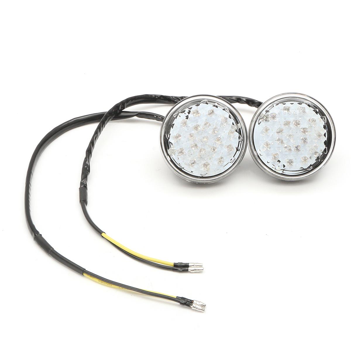 Pair 12V Universal Motorcycle Bike Round LED Turn Signal Indicator Blinker Light Lamp