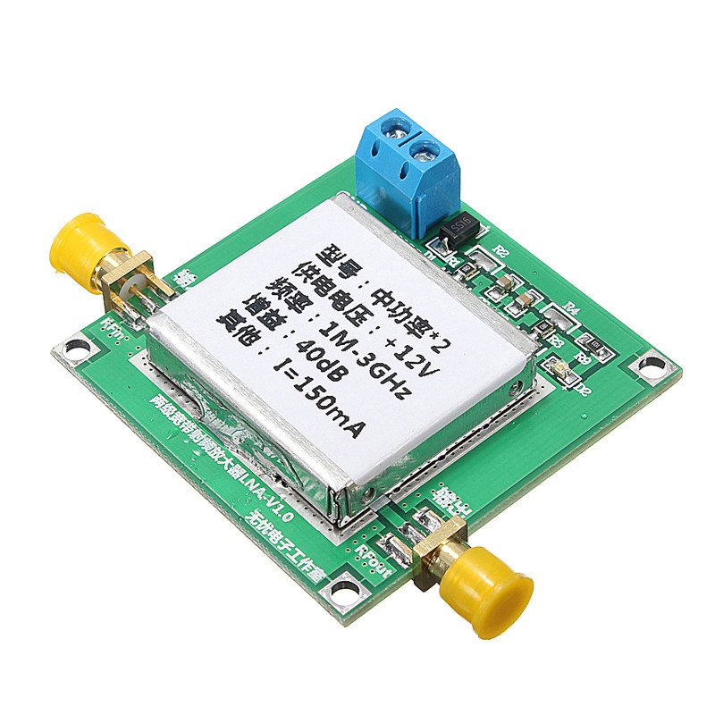 1MHz-3GHz UHF 2.4G Broadband Low Noise Amplifier RF LNA Amp Module 40DB VHF