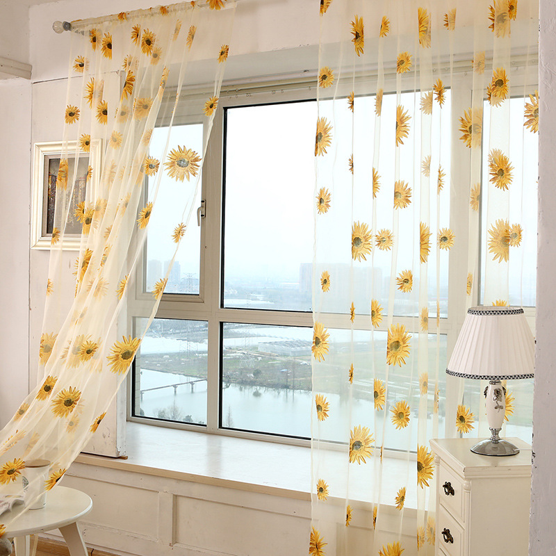 Honana 1x2m Sun Flower Voile Curtain Transparent Panel Window Room