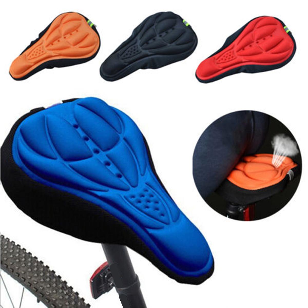 Cycling Bike 3D Silicone Gel Pad Seat Saddle Cover Soft Cushion Black