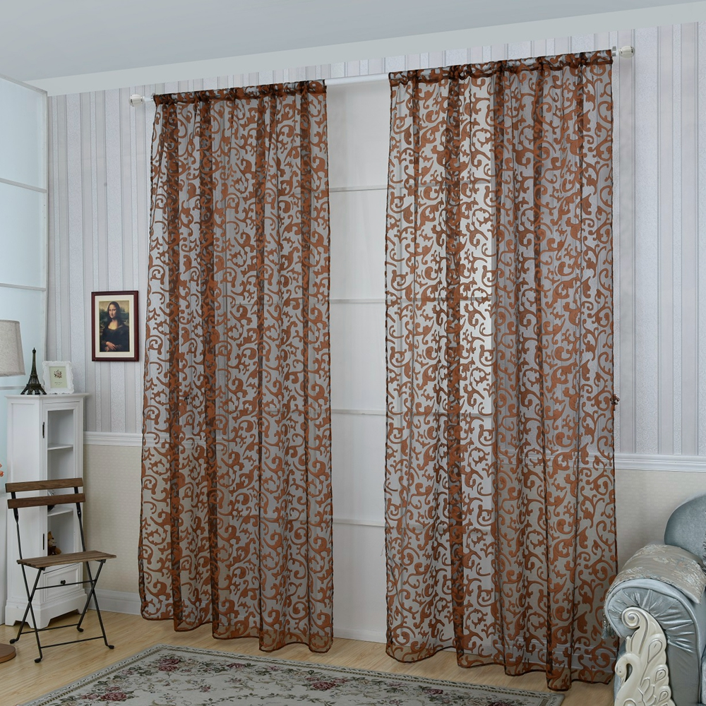 Honana 1x2m Fashion European Style Voile Door Window Curtain Room Divider Sheer Home Decor