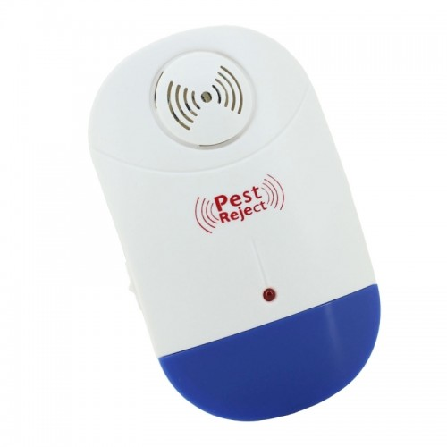 Electronic Ultrasonic Mosquito Rat Pest Control Repeller with LED Light, EU Plug AC90V-250V (White+Blue)