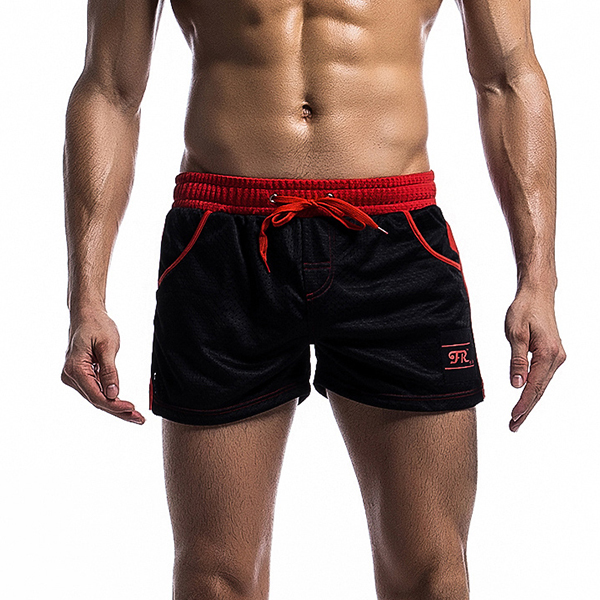 Mens Mesh Underwear Shorts Leisure Fashion Running Fitness Elastic Waist Drawstring Sports Shorts