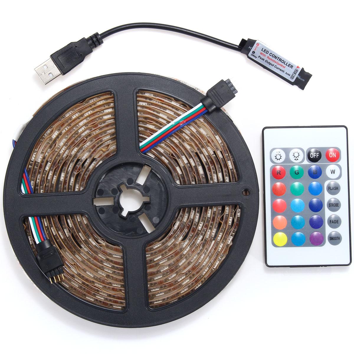 0.5/1/2/3/4/5M RGB SMD5050 Waterproof LED Strip Light TV Back Lighting Kit + USB Remote Control DC5V