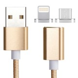 2 in 1 Weave Style 1.2m 5V 2A Micro USB & 8 Pin to USB 2.0 Magnetic Data / Charger Cable for iPhone, iPad, Samsung, HTC, LG, Sony, Huawei, Lenovo and other Smartphones (Gold)