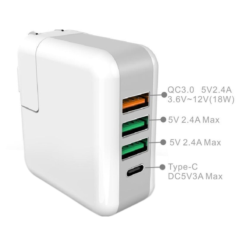 Portable QC3.0 5V 2.4A 3 USB Ports + 1 Type-C Port Travel Charger with UK & US & EU & AU Plug Set for Macbook & iPad & iPhone & Huawei & HTC & Xiaomi & Tablets & Laptop (White)
