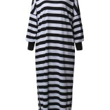 Casual Women Crew Neck Batwing Sleeve Striped Long Shirt Dresses