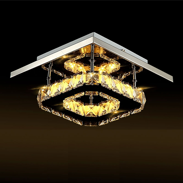 Modern Square Crystal LED Ceiling Light Fixture Pendant