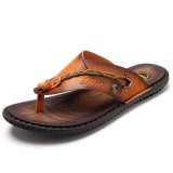 Summer Men Leather Sandals Flip Flops Slippers Beach Shoes