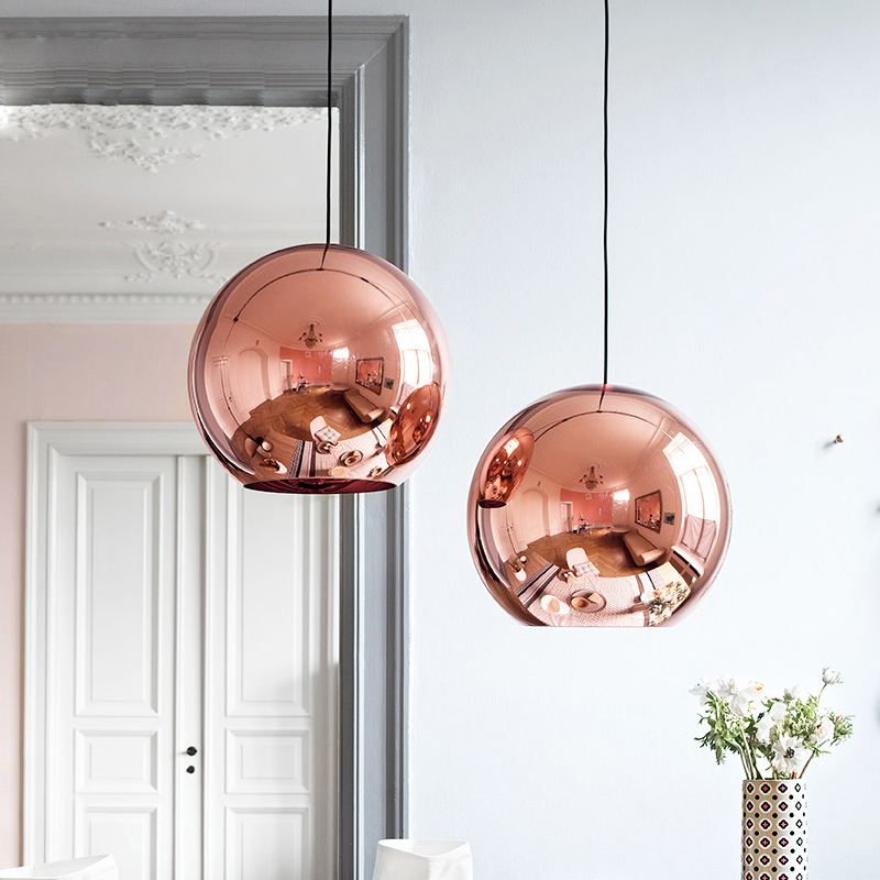 Nordic Globe Glass Copper Color Pendant Light Dinning Room