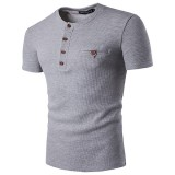 Mens Chest Color Henry Collar T-shirts Casual Single Breasted Short Sleeved T-shirt