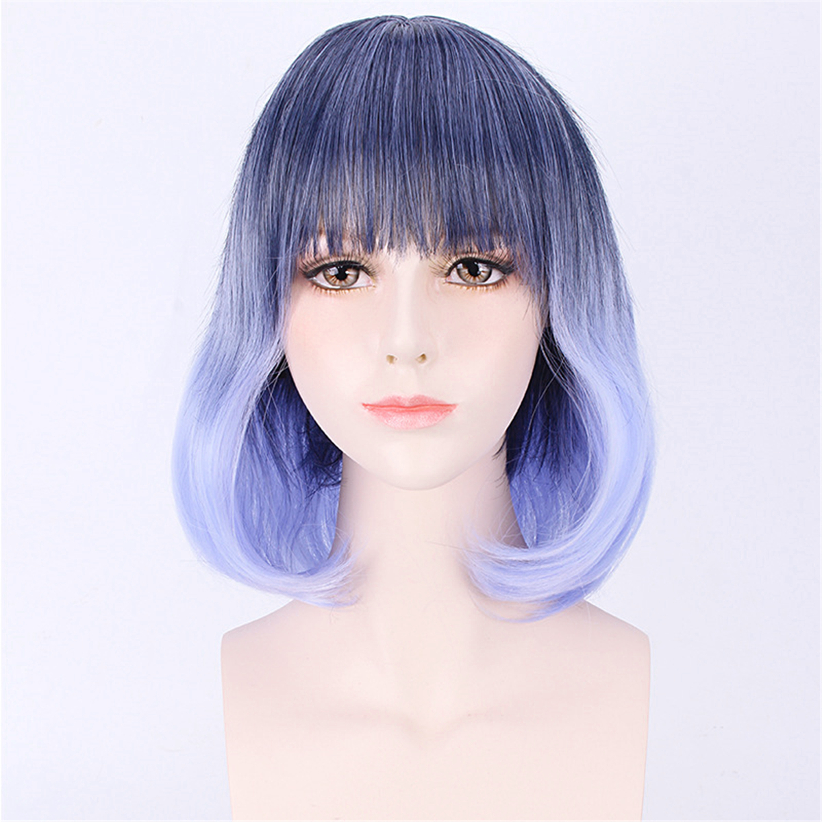 35 40cm Blue Gradient Cosplay Wig Woman Short Curly Hair
