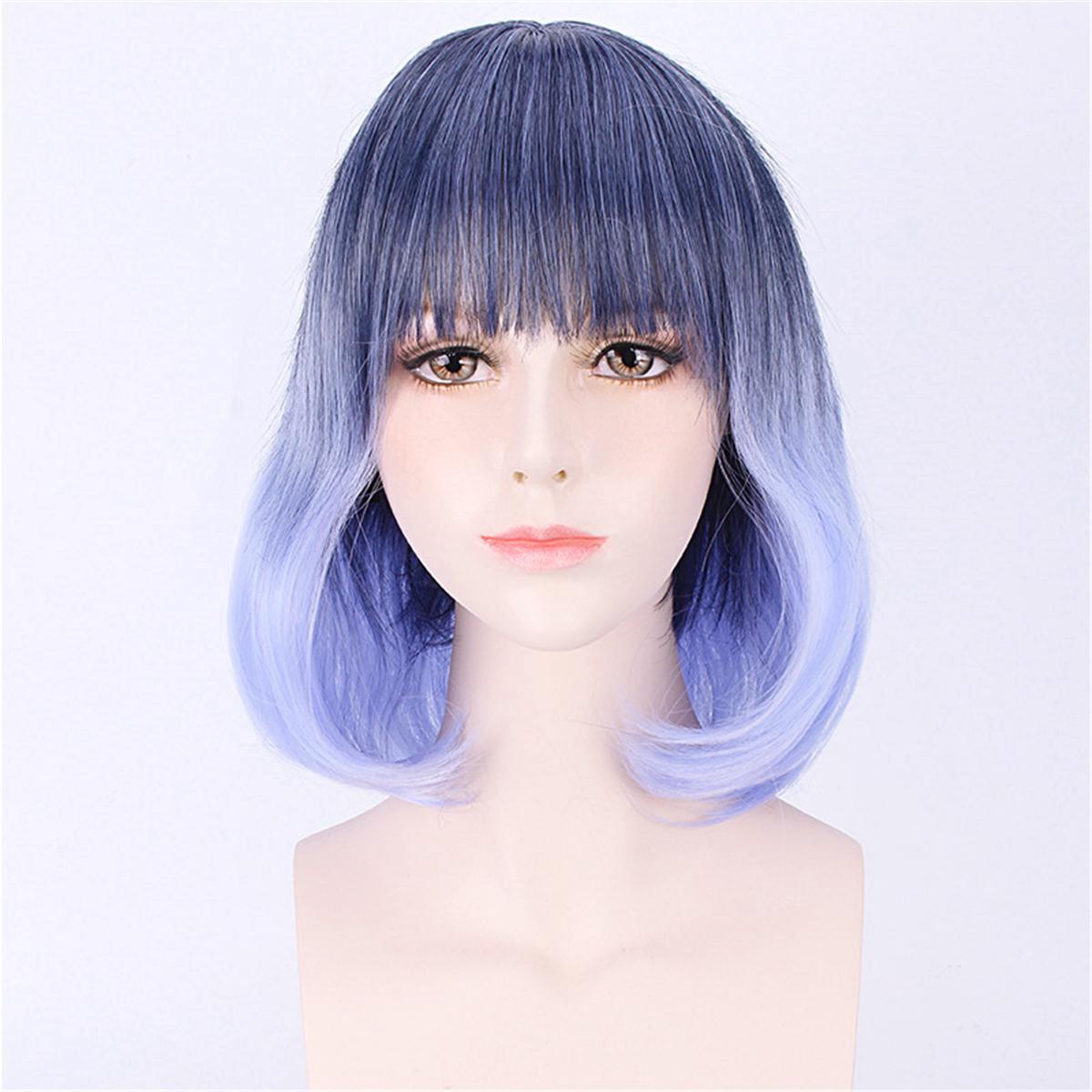 35-40cm Blue Gradient Cosplay Wig Woman Short Curly Hair ...