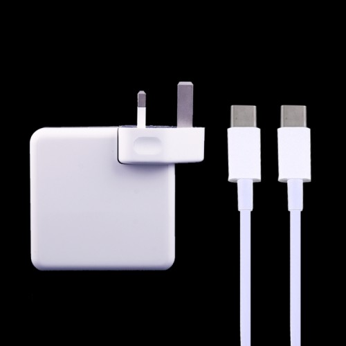 61W USB Type-C Power Adapter with 2m USB Type-C Male to USB Type-C Male Charging Cable for MacBook, Nokia, Google, HTC, Huawei, Xiaomi, Lenovo, Meizu, Letv, OnePlus, UK Plug