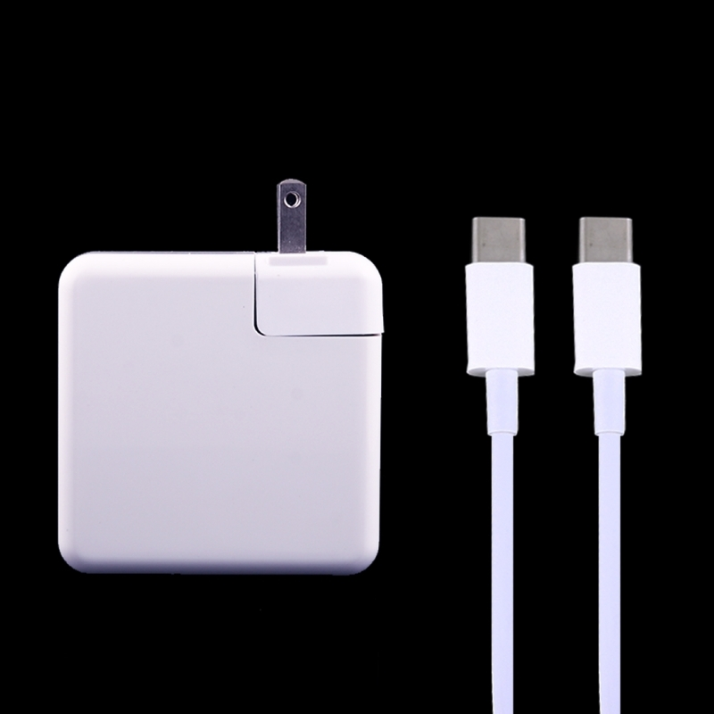 61W USB Type-C Power Adapter with 2m USB Type-C Male to USB Type-C Male Charging Cable for MacBook, Nokia, Google, HTC, Huawei, Xiaomi, Lenovo, Meizu, Letv, OnePlus, US Plug