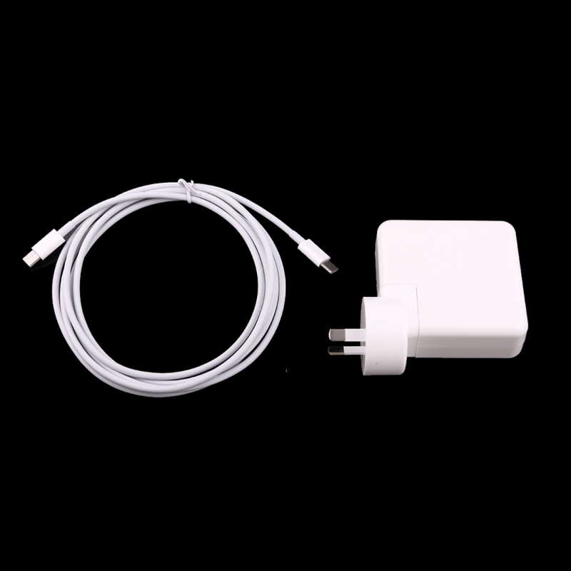 87W USB Type-C Power Adapter with 2m USB Type-C Male to USB Type-C Male Charging Cable for MacBook, Nokia, Google, HTC, Huawei, Xiaomi, Lenovo, Meizu, Letv, OnePlus, AU Plug