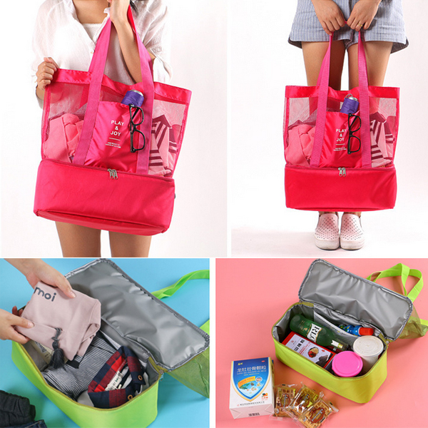 5fc02b70ad7a Honana DW-LB2 Handheld Lunch Bag Insulated Cooler Picnic Bag Mesh Beach  Tote Bag Food Drink Storage