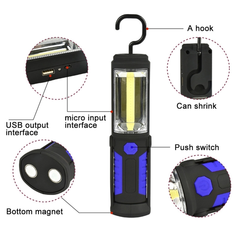 PR5W-1 5W COB+1W F8 400 LM IP43 Waterproof Multi-function USB Charging White Light LED Torch Portable Emergency Work Light Work Stand Light with Magnetic & 360 Degrees Swivel Hook (Blue)