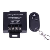 High Power Iron Shell Wireless Remote LED Single Color Dimmer LED Controller with Remote Control, DC 12-24V (Black)