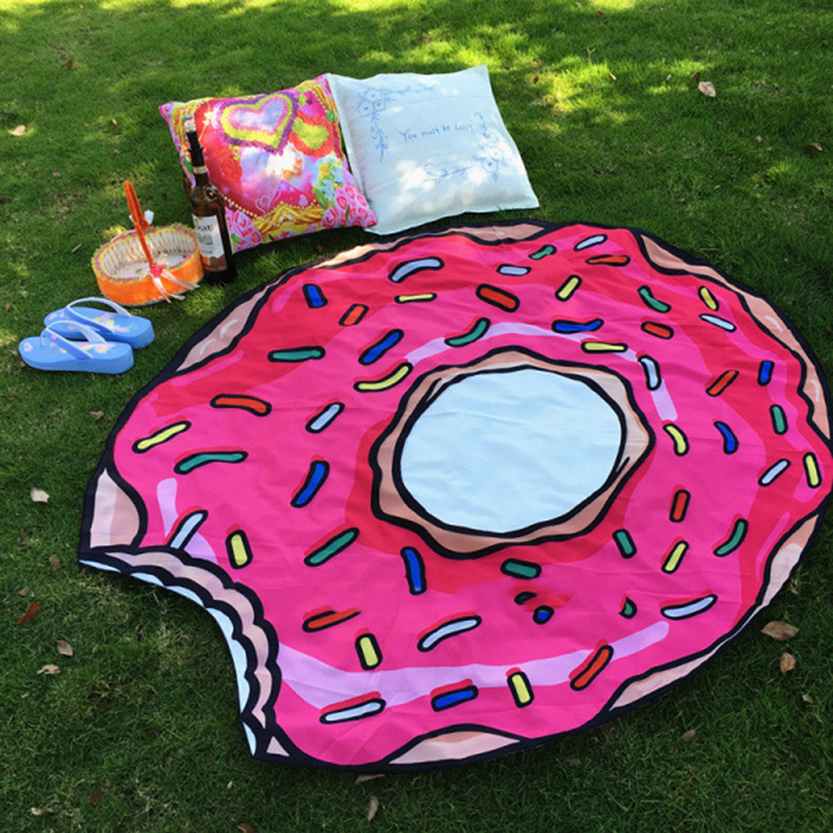 Yoga Mat Beach Blanket Food Pattern Round Throw Beach Towel Sunscreen Shawl Tapestry Wall Hanging