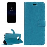 For Samsung Galaxy S8 Retro Crazy Horse Texture Horizontal Flip Leather Case with Holder & Card Slots & Wallet & Photo Frame& Lanyard (Blue)