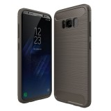 For Samsung Galaxy S8 Plus Brushed Carbon Fiber Texture Shockproof TPU Protective Cover Case (Grey)