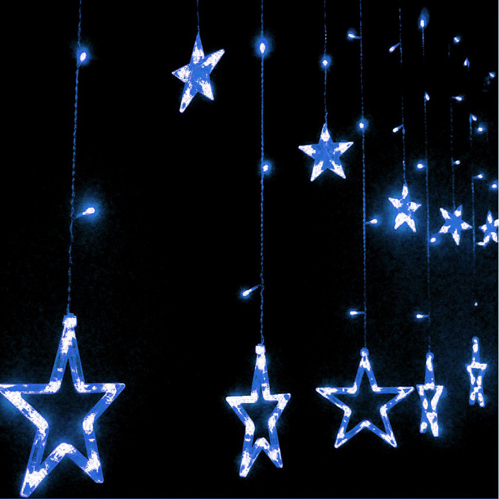Loskii dx v led light string star shape curtain