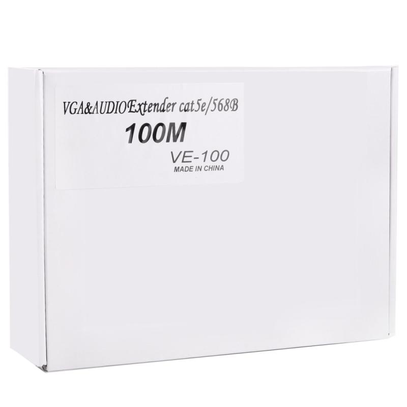VGA & Audio Extender 1920×1440 HD 100m Cat5e / 6-568B Network Cable Sender  Receiver Adapter (Black)