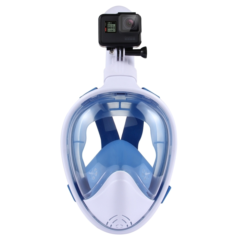 PULUZ Water Sports Diving Equipment Full Dry Diving Mask for GoPro HERO5 /4 /3+ /3 /2 /1, S/M Size (Blue)