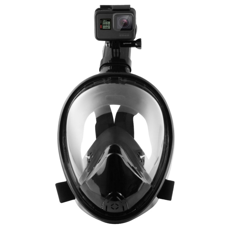 PULUZ Water Sports Diving Equipment Full Dry Diving Mask for GoPro HERO5 /4 /3+ /3 /2 /1, L/XL Size (Black)