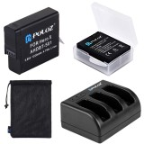 PULUZ 4 in 1 AHDBT-501 3.85V 1220mAh Battery + AHDBT-501 3-channel Battery Charger + Mesh Storage Bag + Battery Storage Box Kit for GoPro HERO5