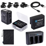 PULUZ 5 in 1 AHDBT-501 3.85V 1220mAh Battery + AHDBT-501 3-channel Battery Charger + Mesh Storage Bag + Battery Storage Box + 2-Port USB 5V (2.1A + 2.1A) Wall Charger Kit for GoPro HERO5